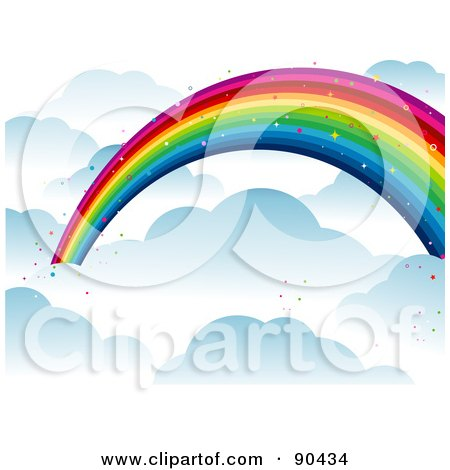 Royalty-Free (RF) Clipart Illustration of a Background Of A Sparkly Rainbow Over The Clouds by BNP Design Studio