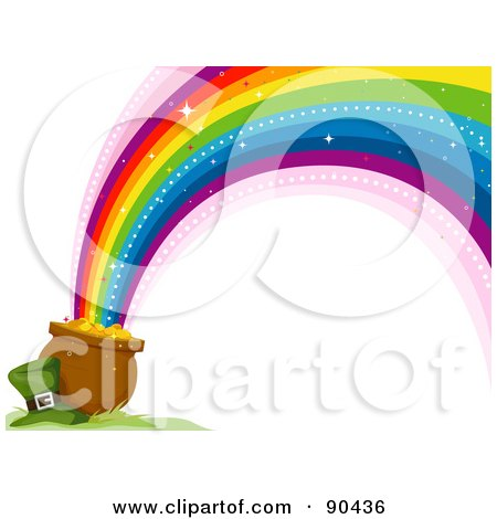 Royalty Free RF Clipart Illustration Of A Leprechaun Hat Resting Beside A Pot Of Gold And A Rainbow