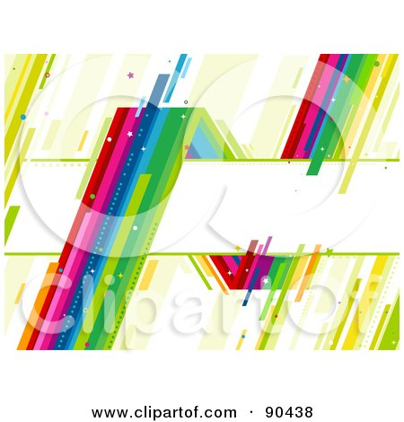 Royalty-Free (RF) Clipart Illustration of a Sharp Rainbow Around A Text Box by BNP Design Studio