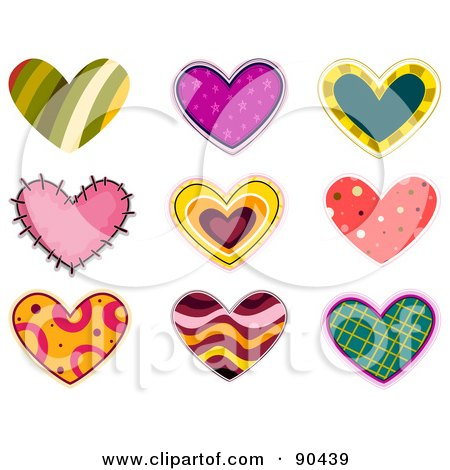 Royalty-Free (RF) Clipart Illustration of a Digital Collage Of Colorful Heart Patches And Designs - Version 1 by BNP Design Studio