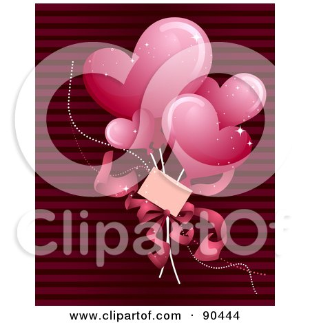 Royalty-Free (RF) Clipart Illustration of Pink Heart Balloons And A Card Over Red Stripes by BNP Design Studio