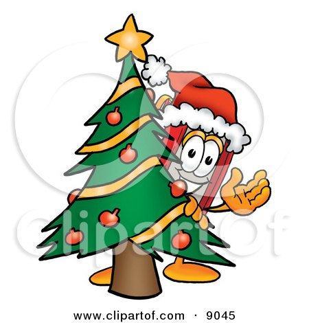 Clipart Picture of a Red Book Mascot Cartoon Character Waving and Standing by a Decorated Christmas Tree by Toons4Biz