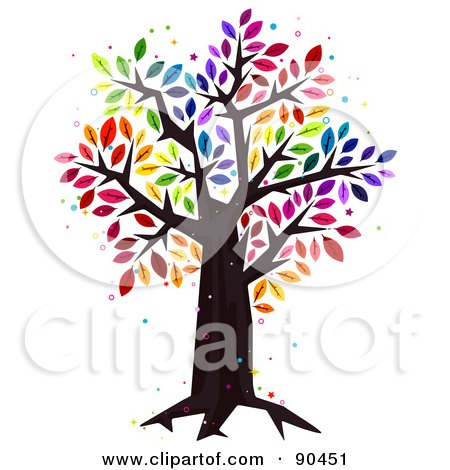 Royalty-Free (RF) Clipart Illustration of a Sparkly Tree With Rainbow Colored Leaves by BNP Design Studio