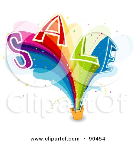 Royalty-Free (RF) Clipart Illustration of a Rainbow Sail Bursting From A Shopping Bag by BNP Design Studio