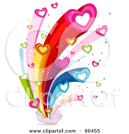 Royalty-Free (RF) Clipart Illustration of a Rainbow Heart Burst From An Envelope by BNP Design Studio