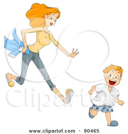 Royalty-Free (RF) Clipart Illustration of a Mom Chasing After Her Hyper Son by BNP Design Studio