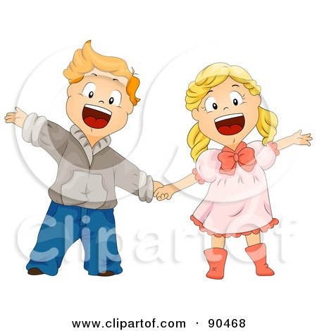 Royalty-Free (RF) Clipart Illustration of a Happy Boy And Girl Holding Hands And Waving by BNP Design Studio