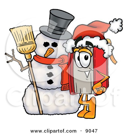 Clipart Picture of a Red Book Mascot Cartoon Character With a Snowman on Christmas by Toons4Biz
