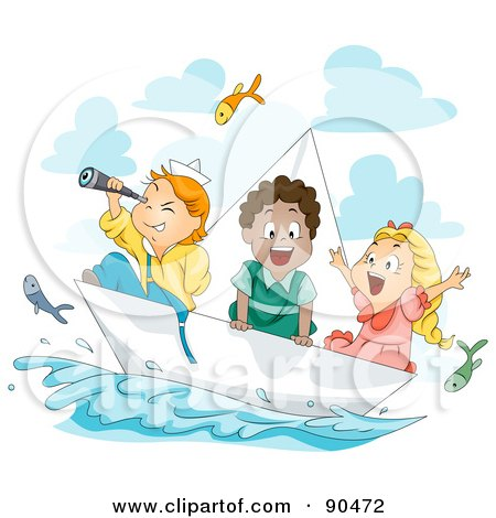 Royalty-Free (RF) Clipart Illustration of a Diverse Group Of Kids Watching Flying Fish And Sailing In A Paper Boat by BNP Design Studio