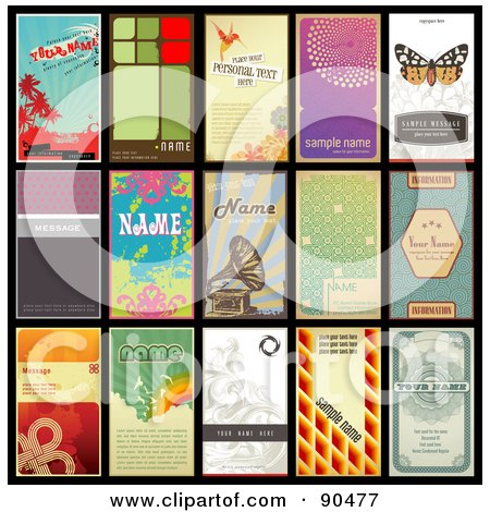 Royalty-Free (RF) Clipart Illustration of a Digital Collage Of 15 Retro Styled Vertical Business Cards by Anja Kaiser