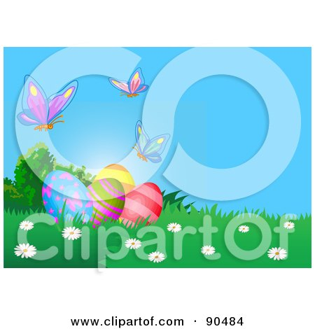 Royalty-Free (RF) Clipart Illustration of Butterflies Over Decorated Easter Eggs In The Grass by Pushkin