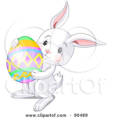 Royalty-Free (RF) Clipart Illustration of a Cute White Bunny Carrying A Colorful Easter Egg by Pushkin