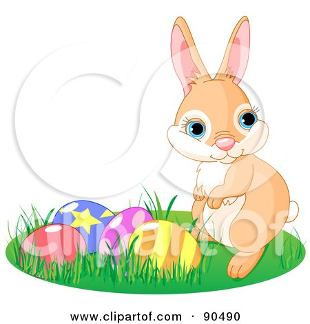 Royalty-Free (RF) Clipart Illustration of a Cute Beige Bunny Rabbit In Grass By Easter Eggs by Pushkin