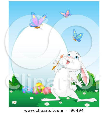Royalty-Free (RF) Clipart Illustration of a Cute White Bunny Watching Butterflies And Decorating A Large Easter Egg by Pushkin