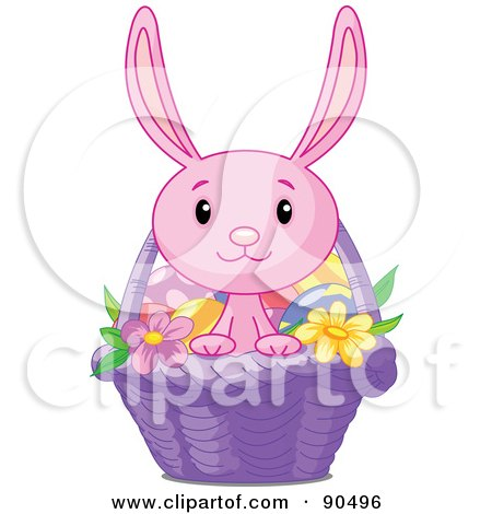 Royalty-Free (RF) Clipart Illustration of a Cute Pink Bunny Looking Out Of A Purple Easter Basket by Pushkin