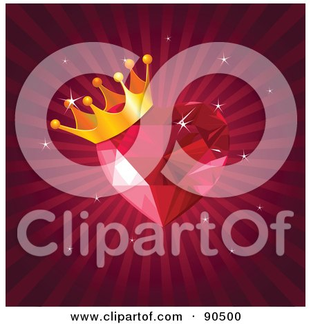 Royalty-Free (RF) Clipart Illustration of a Crowned Gem Heart Over A Bursting Red Background by Pushkin