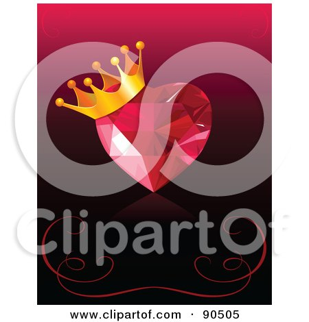 Royalty-Free (RF) Clipart Illustration of a Ruby Heart With A Crown Over A Gradient Background With Swirls by Pushkin
