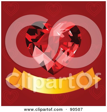 Royalty-Free (RF) Clipart Illustration of a Ruby Heart Above A Blank Gold Banner Over Red by Pushkin