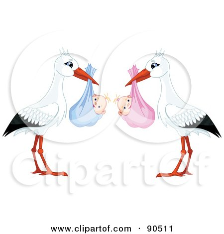 Royalty-Free (RF) Clipart Illustration of a Digital Collage Of White And Black Storks Carrying A Bundled Baby Girl And Boy by Pushkin