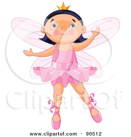 Cute Black Haired Ballerina Fairy Dancing Posters, Art Prints