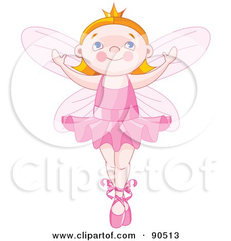 Royalty-Free (RF) Clipart Illustration of a Cute Red Haired Ballerina Fairy Dancing by Pushkin