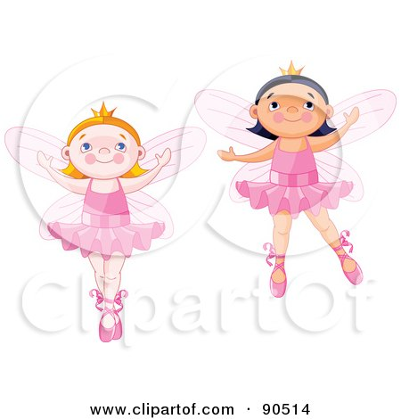 Royalty-Free (RF) Clipart Illustration of a Digital Collage Of Cute Ballerina Fairies Dancing by Pushkin