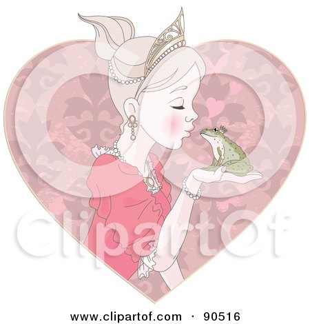 Beautiful Princess Kissing A Frog Prince, Over A Pink Heart Posters, Art Prints