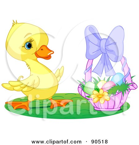 Royalty-Free (RF) Clipart Illustration of a Cute Yellow Duckling By A Basket Of Easter Eggs by Pushkin