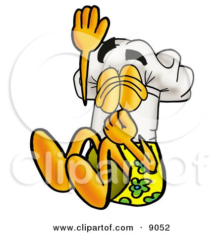 Clipart Picture of a Chefs Hat Mascot Cartoon Character Plugging His Nose While Jumping Into Water by Toons4Biz