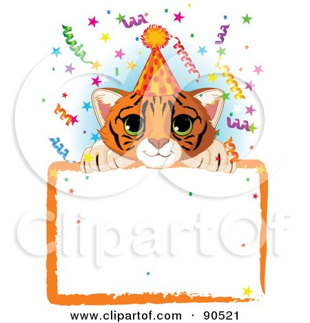 Royalty-Free (RF) Clipart Illustration of an Adorable Tiger Cub Wearing A Party Hat, Looking Over A Blank Starry Sign With Colorful Confetti by Pushkin