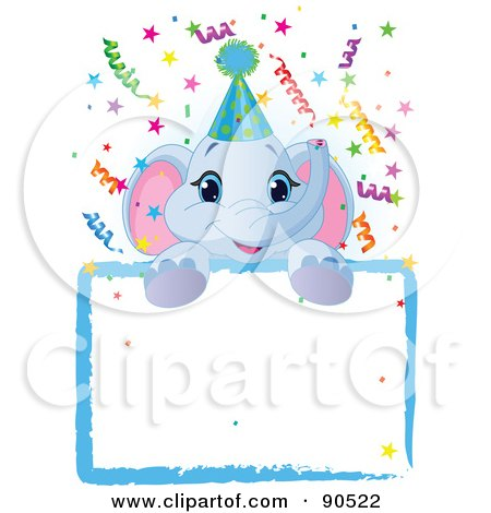 Royalty-Free (RF) Clipart Illustration of an Adorable Elephant Wearing A Party Hat, Looking Over A Blank Starry Sign With Colorful Confetti by Pushkin
