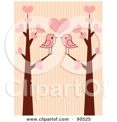 Royalty-Free (RF) Clipart Illustration of Two Pink Birds Under A Heart In Love Trees, Over Stripes by Pushkin