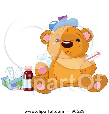 Royalty-Free (RF) Clipart Illustration of a Sick Teddy Bear With Tears In His Eyes, An Ice Pack On His Head And Tissue by Pushkin
