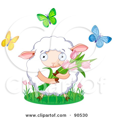 Royalty-Free (RF) Clipart Illustration of a Cute Sheep Holding Tulips And Surrounded By Butterflies