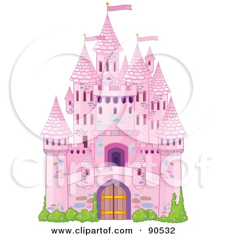 Royalty-Free (RF) Clipart Illustration of a Pink Fairy Tale Castle With Turrets And Shrubs by Pushkin
