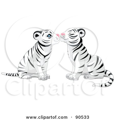 Royalty-Free (RF) Clipart Illustration of a Cute White Tiger Pair Smooching by Pushkin
