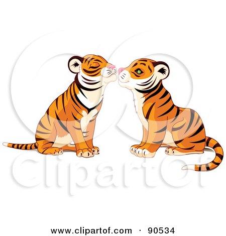 Cute Tiger Pair Smooching Posters, Art Prints