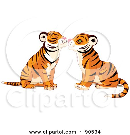 Royalty-Free (RF) Clipart Illustration of a Cute Tiger Pair Smooching by Pushkin