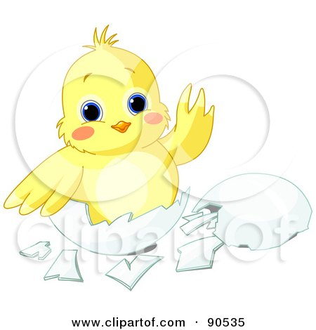 Royalty-Free (RF) Clipart Illustration of a Cute Yellow Chick Waving And Sitting In An Egg Shell by Pushkin