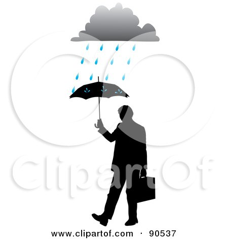 Royalty-Free (RF) Clipart Illustration of a Silhouetted Businessman Holding Up An Umbrella Under A Rain Cloud by Rosie Piter