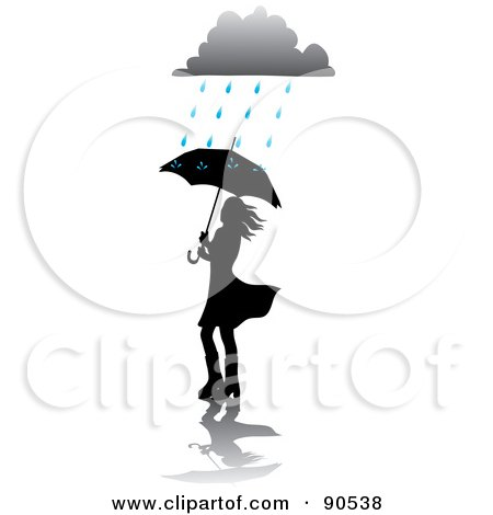 Royalty-Free (RF) Clipart Illustration of a Silhouetted Woman Walking With An Umbrella Under A Rain Cloud by Rosie Piter