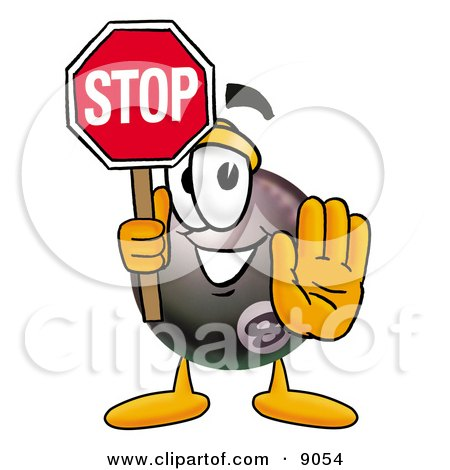 Clipart Picture of an Eight Ball Mascot Cartoon Character Holding a Stop Sign by Toons4Biz