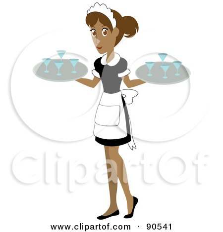 Royalty-Free (RF) Clipart Illustration of a Pretty Hispanic Waitress Carrying Beverages On Trays by Rosie Piter
