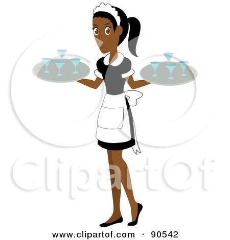 Royalty-Free (RF) Clipart Illustration of a Pretty Indian Or African Waitress Carrying Beverages On Trays by Rosie Piter