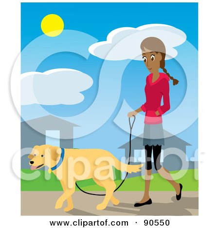 Royalty-Free (RF) Clipart Illustration of a Pretty Hispanic Woman Walking Through Her Neighborhood With Her Golden Retriever Dog by Rosie Piter