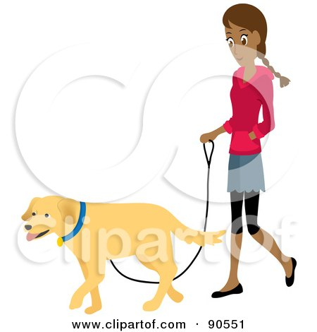 Royalty-Free (RF) Clipart Illustration of a Pretty Hispanic Woman Walking Her Golden Retriever Dog On A Leash by Rosie Piter
