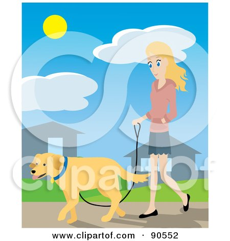 Royalty-Free (RF) Clipart Illustration of a Pretty Caucasian Woman Walking Through Her Neighborhood With Her Golden Retriever Dog by Rosie Piter
