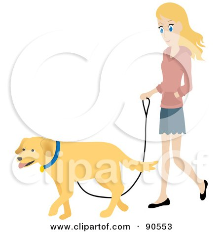 Royalty-Free (RF) Clipart Illustration of a Pretty Caucasian Woman Walking Her Golden Retriever Dog On A Leash by Rosie Piter