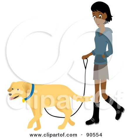 Royalty-Free (RF) Clipart Illustration of a Pretty Indian Woman Walking Her Golden Retriever Dog On A Leash by Rosie Piter