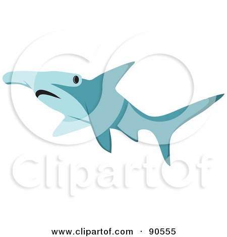 Royalty-Free (RF) Clipart Illustration of a Blue Hammerhead Shark by Rosie Piter